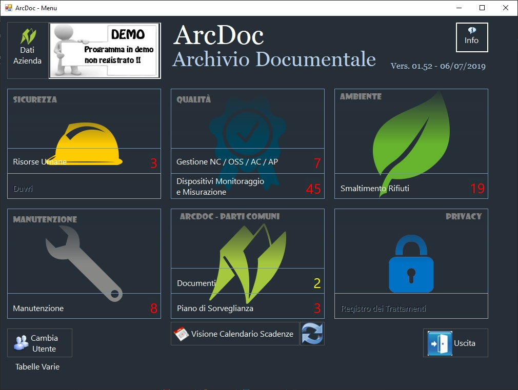 Menu Arcdoc- Archivio Documentale
